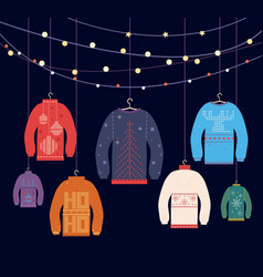 ugly sweater christmas sweaters with different vector image
