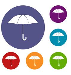 umbrella icons set vector image