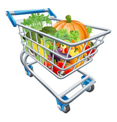 vegetable shopping cart trolley vector image