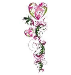 Vintage flowers heart vector image