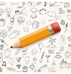 Yelow pencil with group of hand drawn icons vector image