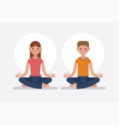 Young man and woman meditating in lotus pose vector