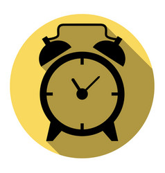 alarm clock sign flat black icon with vector image