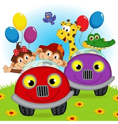 animals traveling in cars vector image