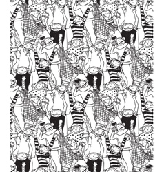 Big group monkey seamless black and white pattern vector image