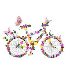 bike flowers vector image vector image