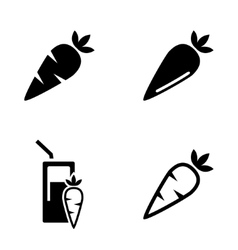 black carrot carrot meals icons set vector image vector image