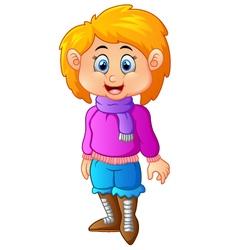 Cute Little Girl in Winter vector image