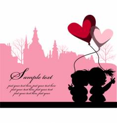 kissing couple above the city vector image vector image