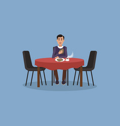 man is having lunch kitchen interior vector image