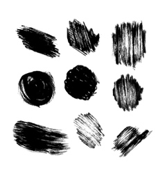 set of grunge circle brush strokes vector image vector image
