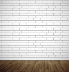 White brick room with wooden floor vector image vector image
