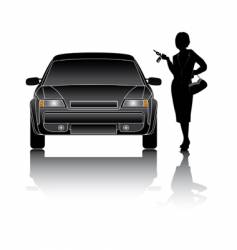 woman and car vector image vector image