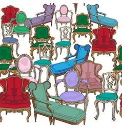 antique chairs pattern vector image