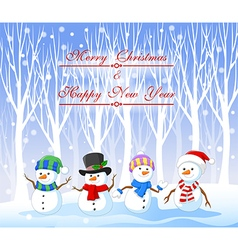 Cartoon funny snowman with winter background vector image