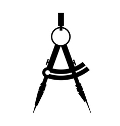 compass icon black and white vector image vector image