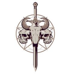 emblem with skulls sword and pentagram vector image vector image