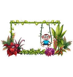 An empty frame made of bamboo with a monkey vector image vector image