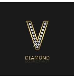 Golden Letter V vector image vector image