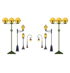 Street Lamp Post Set vector image vector image