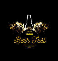 beer fest splash of beer with bubbles on a black vector image