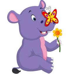 cartoon cute baby hippo vector image vector image