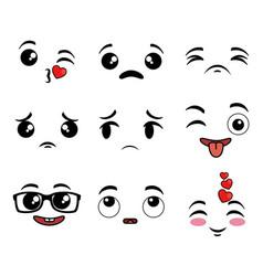 collection of cute emoji cartoon face vector image