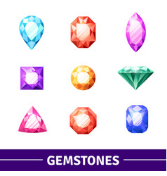 gemstones icons set vector image vector image