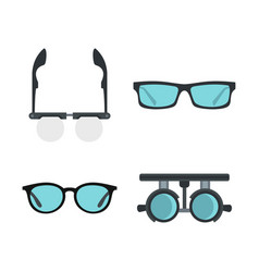 glasses icon set flat style vector image