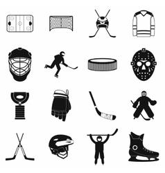 Hockey black simple icons set vector image vector image