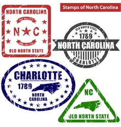 North carolina in stamps vector