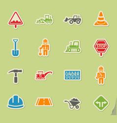 Road repairs icon set vector