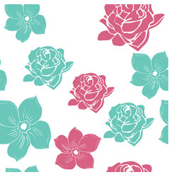 2 color hand drawn flower seamless pattern vector