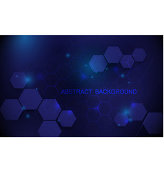 abstract blue hexagons with technology background vector image