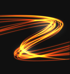 abstract gold light curve speed on black vector image