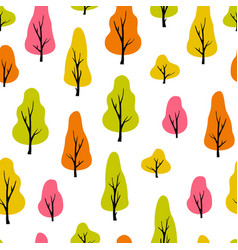 abstract seamless pattern with trees autumn vector image