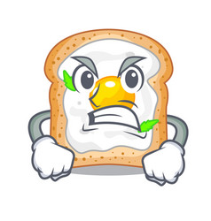 Angry sandwich with egg above character board vector