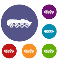 Army battle tank icons set vector