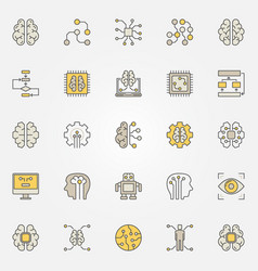 Artificial intelligence colorful icons ai vector