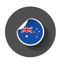 australia sticker with flag with long shadow vector image