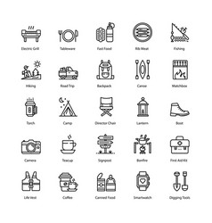 Barbecue and grill line icons set vector