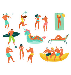 beach people summer vacation sea ocean family vector image