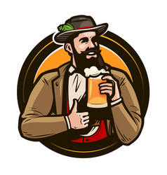 Beer brewery pub logo or label oktoberfest vector
