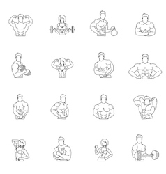 Bodybuilding fitness gym icons vector image