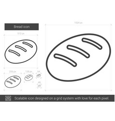 Bread line icon vector