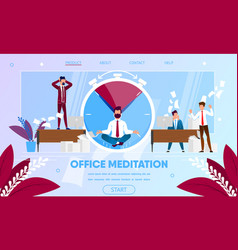 Businessman meditating practicing yoga meditation vector