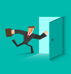businessman running in the open door vector image