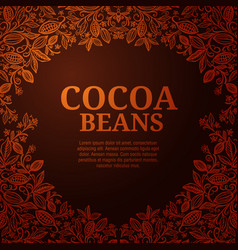 cacao beans plant exotic cacao plants vector image