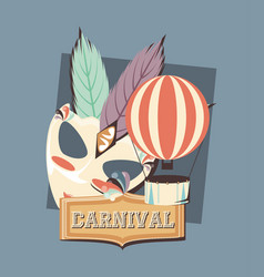 Carnival mask and hot air balloon funny retro vector