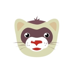 Cartoon ferret animal face vector image